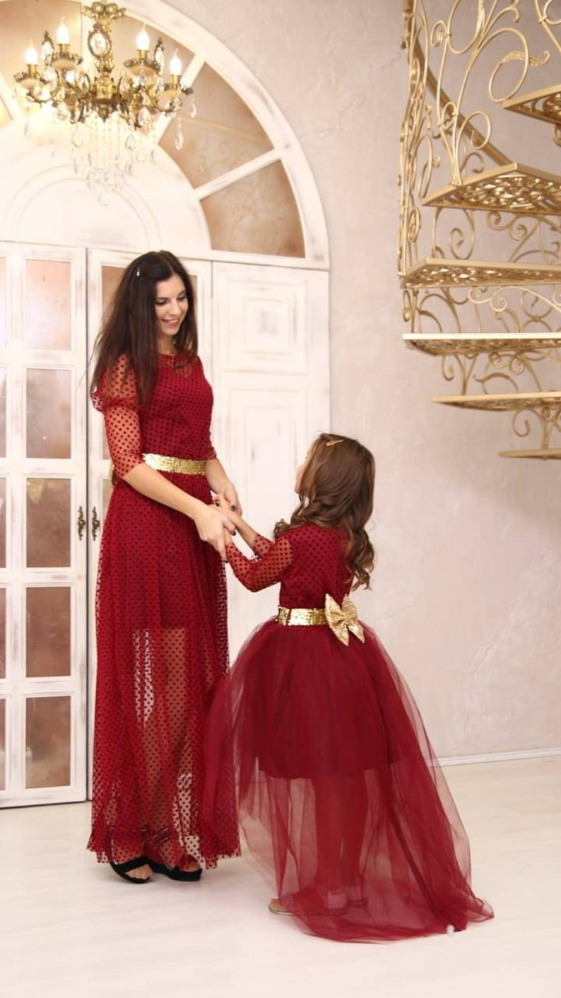 c4826301fd029 Mother Daughter Dress Burgundy princess dress Mother daughter