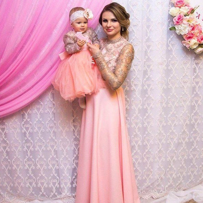 99fecc6c6937 Mother Daughter Matching Lace Peach Pink dress Tutu dress | Etsy