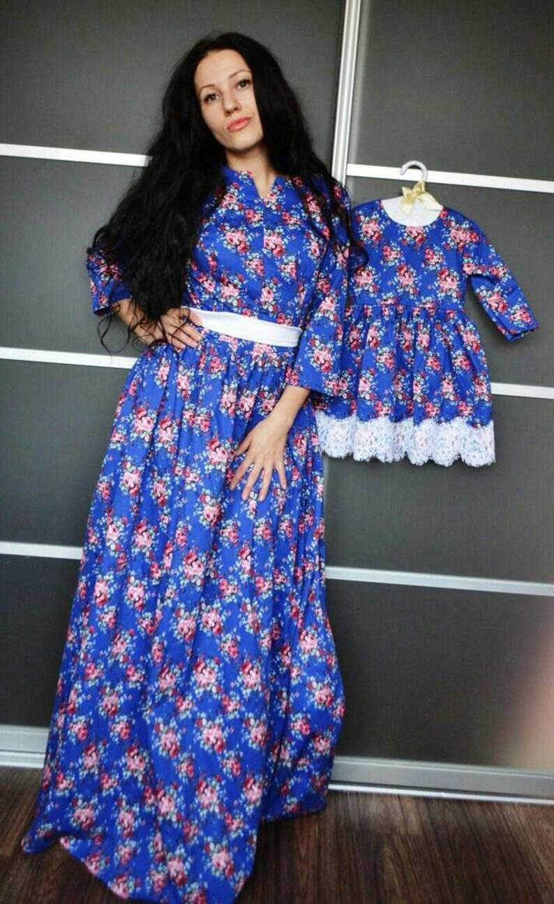 88bf3aa21 Madre hija juego vestidos con florales impresos diversos