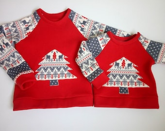 Christmas matching sweatshirts outfits Red sweaters Mommy and Me Daddy and Son Mother daughter matching outfits Cristmas unisex sweatshirts oa8VE3E