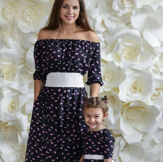 Baumwolle passende Mutter Tochter Kleider bodenlang Mami und