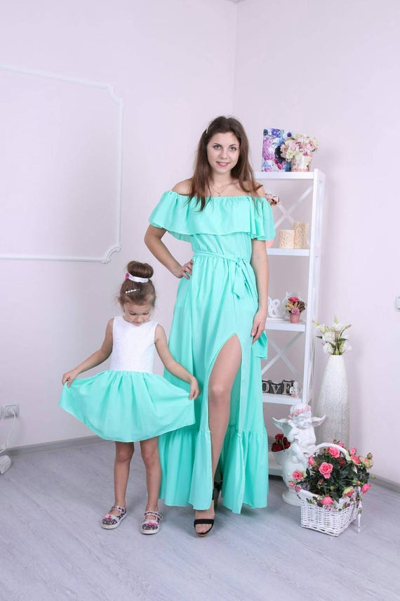 Party mother daughter matching dresses in dusty blue color with pearls and feathers elegant maxi evening Mommy and Me outfits