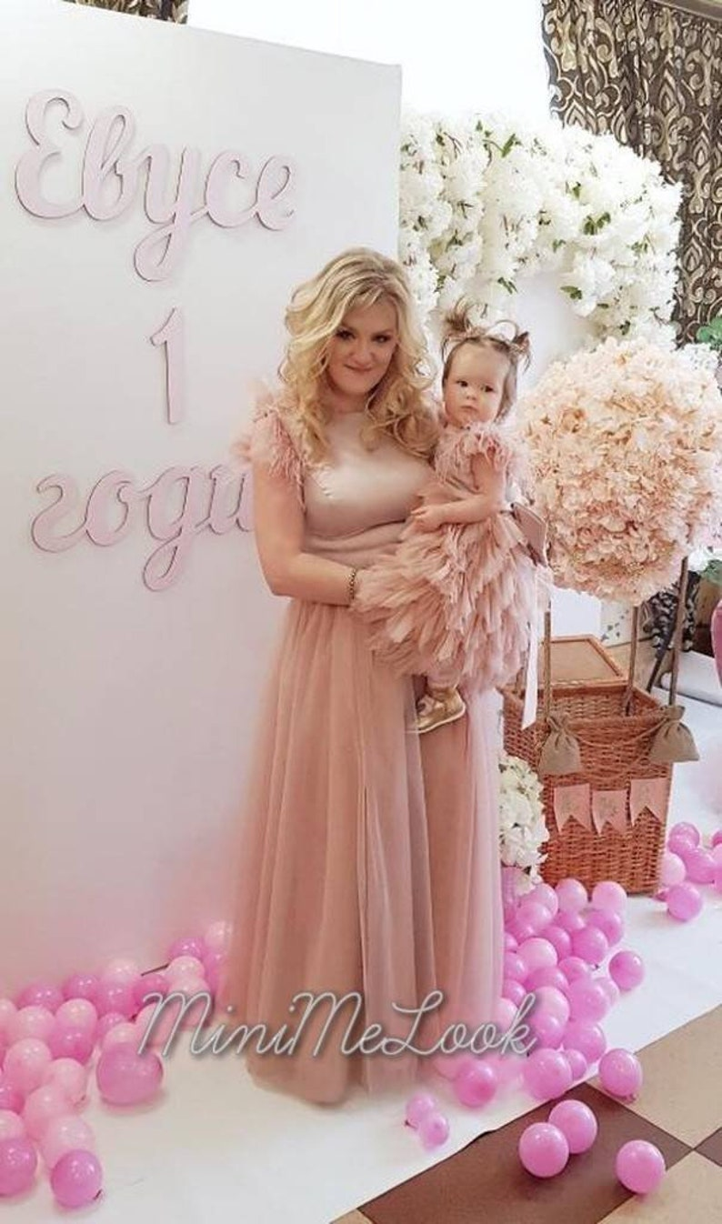 98d54ec7c2c7 Blush Tulle Mother Daughter Matching Dress Mommy and Me   Etsy