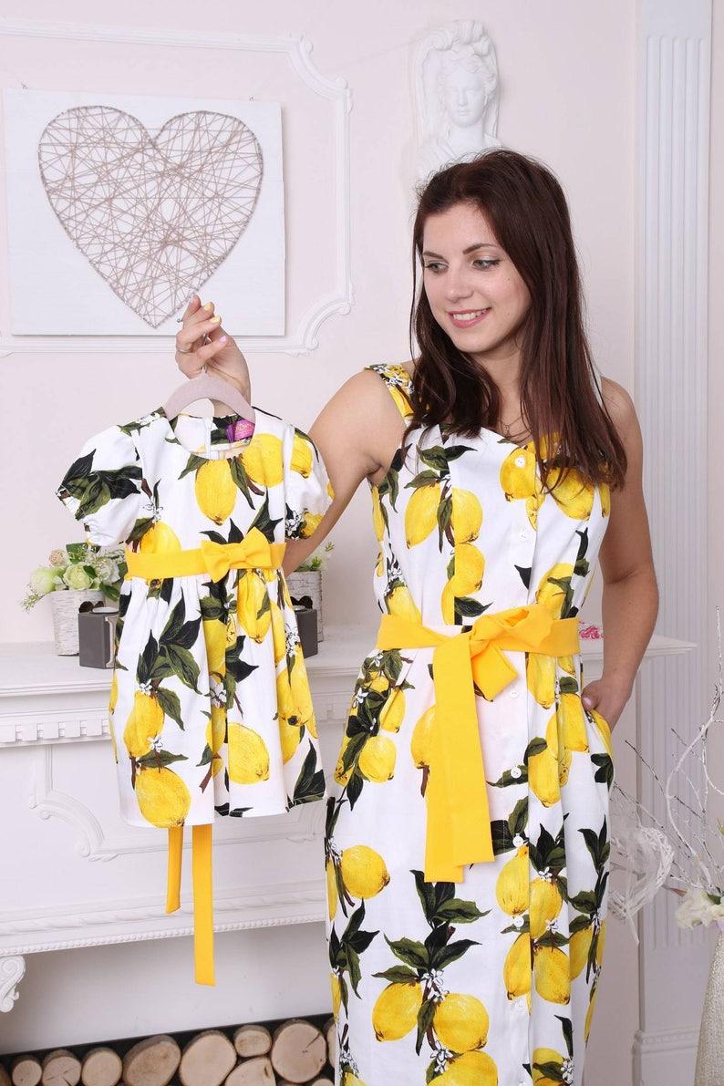 a9f0d7a0e Vestidos limón impresión algodón juego madre hija juego verano