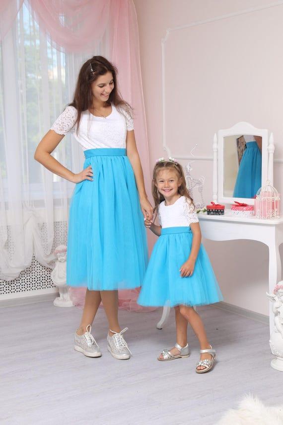 Sale/blaue Spitze Mutter Tochter Partnerlook Kleider Mama und