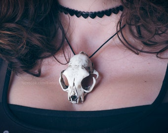 Cat Skull resin replica necklace goth witchy
