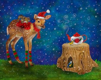 CHRISTMAS TEA PARTY 16x20 Fine Art Print, Christmas Animals Illustration, Christmas Scenery, Woodland Christmas Illustration, Tea Party