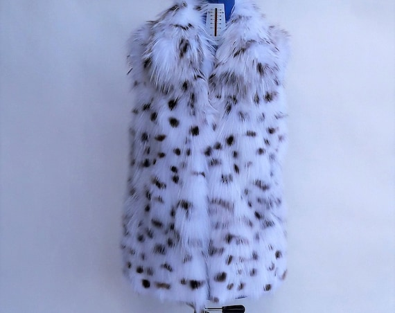 WHITE SPOTTED fOX fUR VEST/fur vest/fox fur vest/fur/fox fur/real fur/fox fur/pelliccia/fur vests women/cat links/animal print fur/fur coat