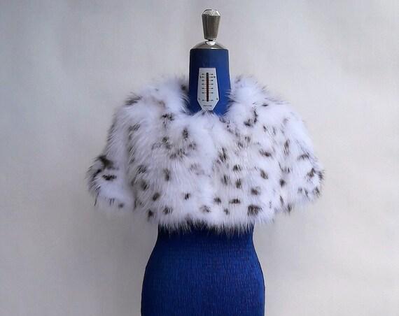 WHITE SPOTTED fOX fUR STOLE/fur stole/fox fur stole/fur bolero/fur collar/fox fur collar/fur/real fur/fox fur/fur coat/fur jacket/pelliccia