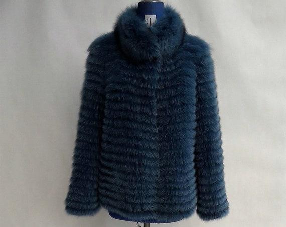 PETROL fOX fUR JACKET with collar/fur jacket/fur coat/fox fur coat/fur coats women/fur/real fur coat/real fur/jackets with fur/fur coats