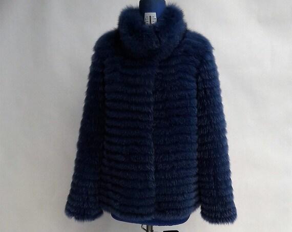 DARK BLUE fOX fUR JACKET with collar/fur jacket/fur coat/fox fur coat/fur coats women/fur/real fur coat/real fur/jackets with fur/fur coats