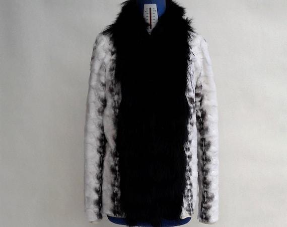 MINK AND fOX fUR JACKET/mink fur jacket/mink fur coat/mink fur/mink/pelliccia/fur jacket/fur coat/fur/real fur/black & white/women fur coat