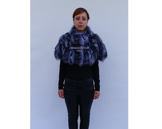 BRAND NEW! SILVER fOX fUR Stole bolero