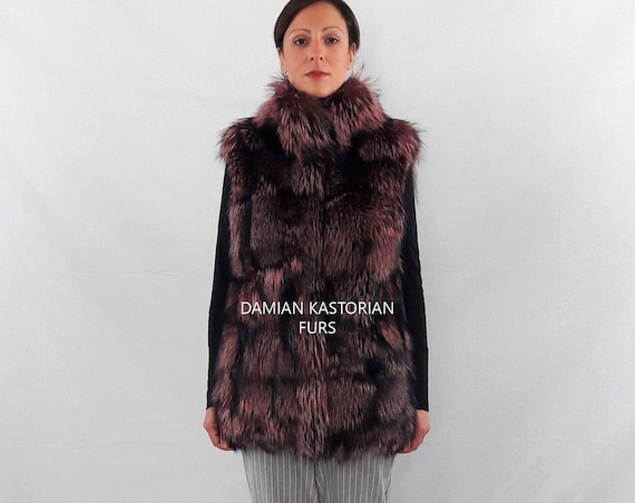 PINK FUR VEST/fur vest/fur coat/fox fur/pelliccia/fox fur vest/real fur vest/fur vest/pelliccia/women clothing