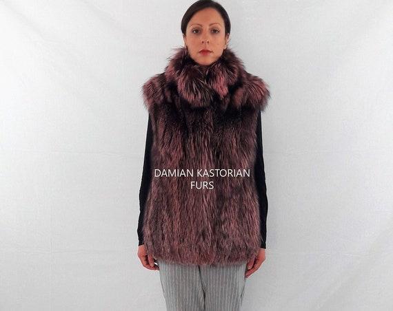 PINK FUR VEST/fur vest/fur coat/fox fur/pelliccia/fox fur vest/real fur vest/fur vest/full skin/pelliccia/women clothing
