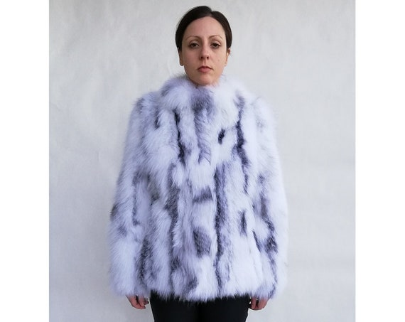 ARCTIC fOX fUR JACKET/real fur/fox fur/white fur/christmas/gift/present/fur/pelliccia/fur coat/women fur coats/leather jacket/new/natural