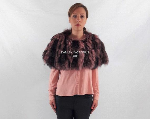 PINK fOX fUR STOLE/BOLERO/fur coat/real fur/fox fur/fur vest/pelliccia/fur cape/women clothing/fur stole/fur/fox fur stole/christmas gift