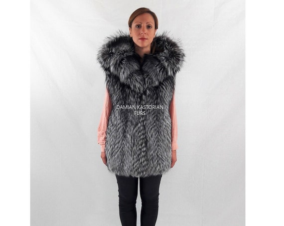 SILVER fOX fUR VEST/fur vest/fur vest with hood/full skin/fur/fox fur/real fur/fur coat/women fur coats/fur/mink fur coat/christmas gifts