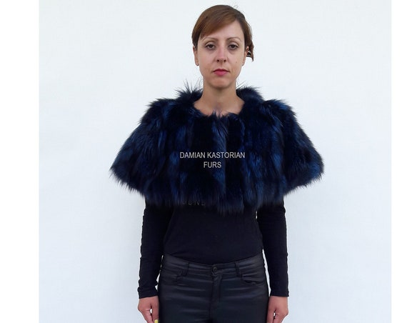 BRAND NEW! BLUE bLACK fOX fUR Stole bolero