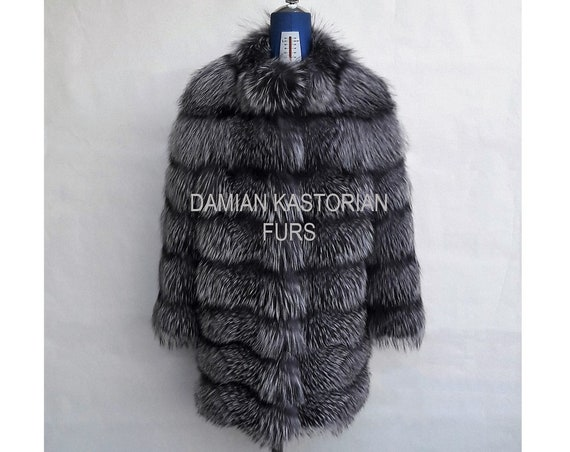 BRAND NEW!!! SiLVER fOX fUR coat / jacket fULL SKIN