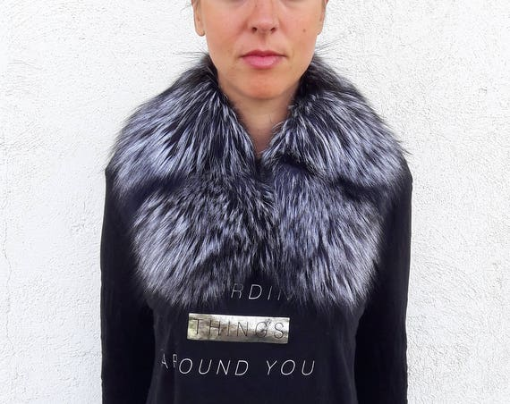 SILVER fOX fUR Collar Scarf FULL SKIN double way to wear/christmas gift/present gifts/pelliccia/real fur/fur/fox fur collar/gift/fur stole