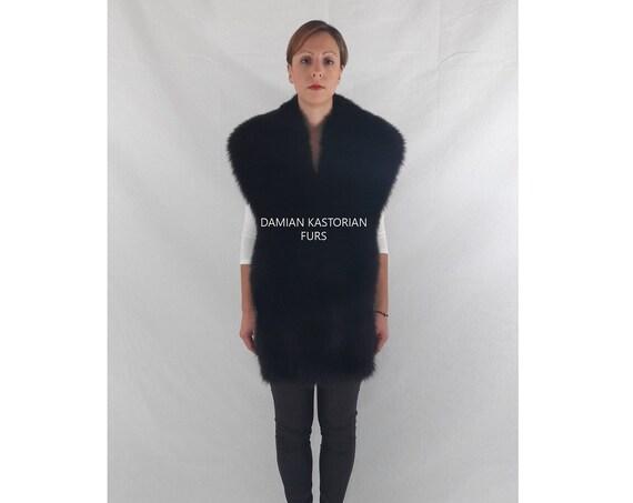 BLACK fOX fUR STOLE/fur coat/fox fur coat/fur vest/real fur coat/fox fur/pelliccia/fur stole/fox fur stole/real fur/women clothing/fur cape