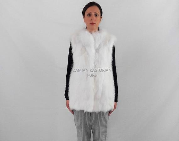WhITE fOX fUR VEST/fur coat/fox fur/fur vest/white fur vest/real fur coat/fox fur vest/pelliccia/real fur/fur/women clothing/christmas gifts