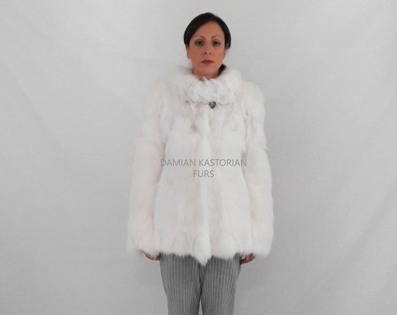 BRAND NEW!!! WhITE fOX / fUR JACKET / fur coat / fox fur coat / fur vest / real fur coat / fox fur / fox fur vest / pelliccia