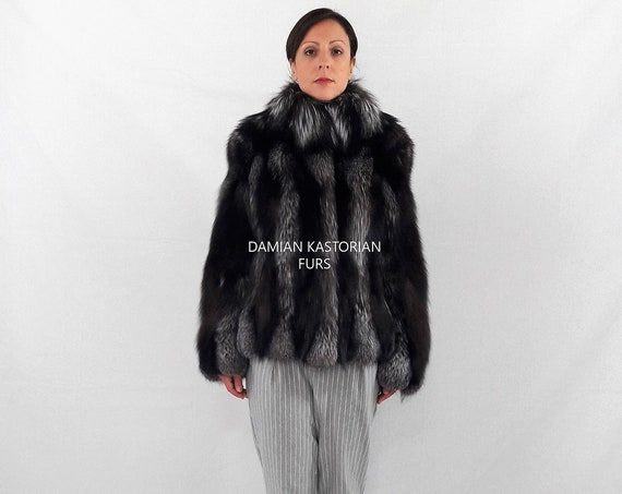 SILVER fOX-fUR jacket-fur coat-fox fur coat-with collar-women fur coats