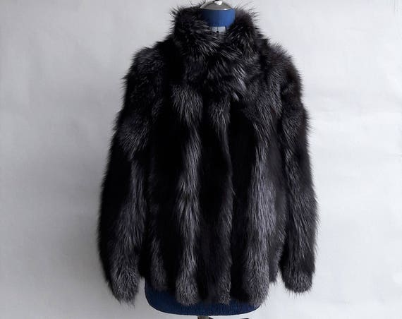 BRAND NEW!! SILVER fOX fUR jacket coat  with collar