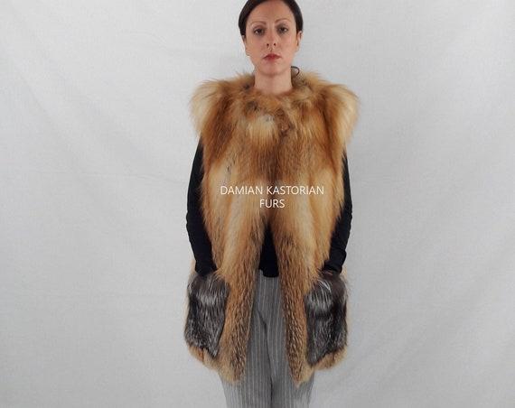 GOLD fOX fUR VEST/full skin/fur coat/fox fur coat/fur vest/fur/fox fur/fox fur vest/gifts/real fur vest/real fur/fur vests women/clothing