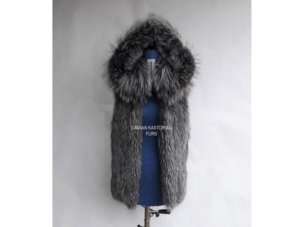 SILVER fOX fUR Vest with hood/full skin/fur coat/fox fur coat/fur vest/real fur coat/fox fur/fox fur vest/pelliccia/christmas gift/pelliccia