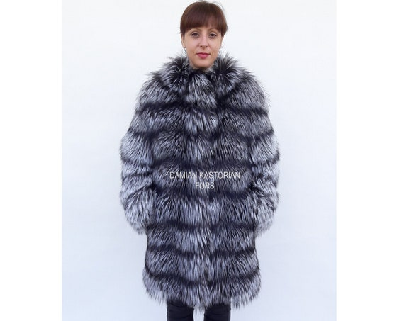 SILVER fOX fUR COAT/fULL SKIN/fur coat/fox fur coat/real fur coat/fox fur/real fur/pelliccia/fur coats women/fur/fox fur jacket/fur jacket