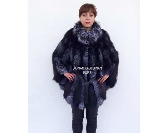SiLVER fOX fUR CAPE/with collar/fur coat/fox fur coat/fur vest/real fur coat/fox fur/fox fur vest/pelliccia/christmas gift/present gifts/fur