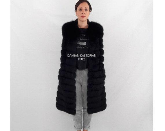 BLACK FUR VEST/black fur vest/fur coat/fox fur/pelliccia/fox fur vest/real fur vest/fur vest