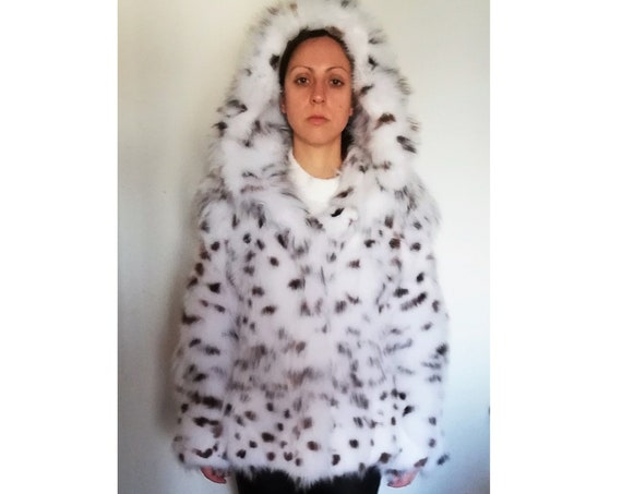 WHITE fOX SPOTTED fUR JACKET with hood/fur coat/fur jacket/real fur/fox fur coat/hooded fur coat/fur coat with hood/fur coat women/pelliccia