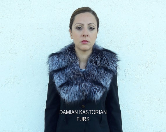 SILVER fOX fUR Collar FULL SKIN/fur collar/fox fur collar/silver fur collar/black fur collar/fur stole/christmas gift/present gifts/real fur