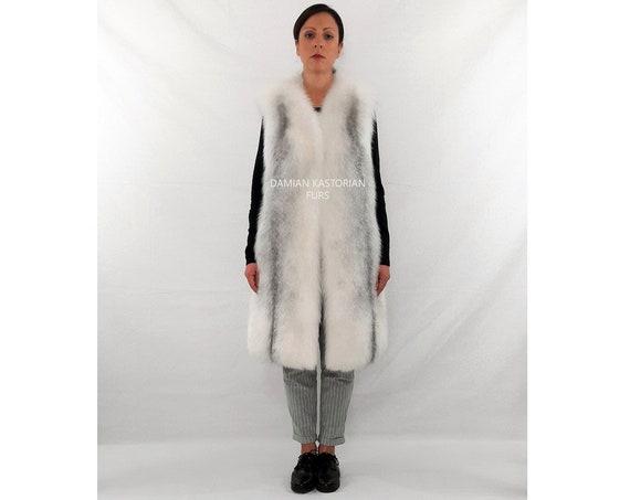 ARCTIC fOX fUR VEST/full skin/fur coat/fur vest/real fur/fox fur/fox fur vest/pelliccia/fur/women clothing/christmas gifts/white fur vest
