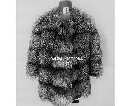 SILVER fOX fUR JACKET/fULL SKIN/fur coat/fox fur coat/fur vest/real fur coat/fox fur/fox fur vest/pelliccia/christmas gift/present gift/fur