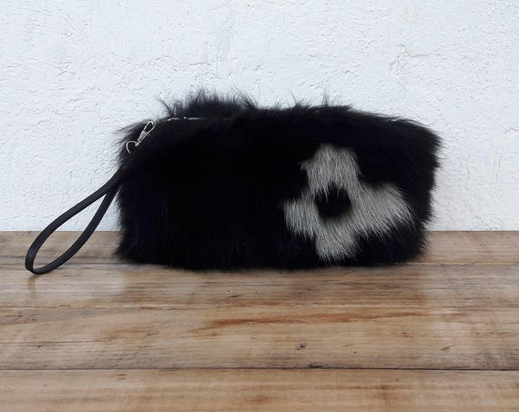 BLACK REAL fOX fUR WALLET with khaki flower,Womens Bag, Fox Fur Handbag, Shoulder Bag Women, Tote Bag, Gift For Her, Handmade.