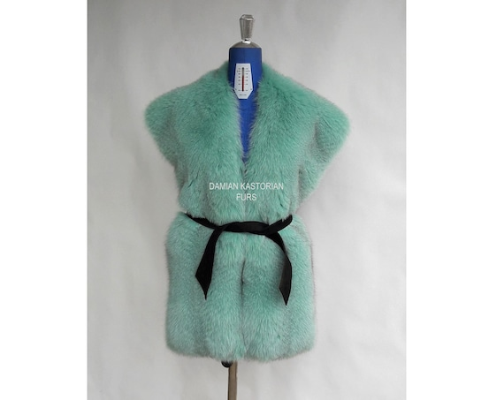 LIGHT GREEN / Cabbage fOX fUR STOLE full skin / fur coat / fox fur coat / fur vest / real fur coat / fox fur / fox fur vest / pelliccia