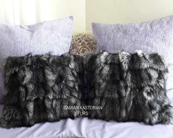 REAL SILVER fOX fUR CUShION dECORATIVe PILLOW/christmas gift/present gifts