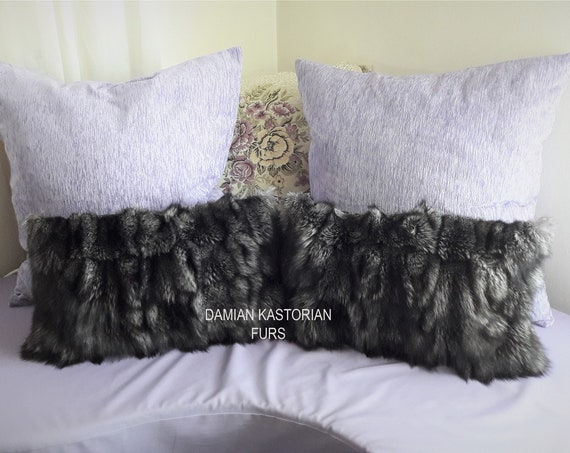 REAL SILVER fOX fUR CUShION dECORATIVe PILLOW/christmas gift/present gift