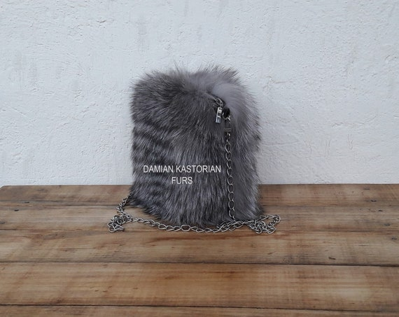 HANdMADE ReAL GRAY FROST fOX fUR PuRSE SHOULdER & EVENING bAG, Womens Bag, Fox Fur Handbag, Shoulder Bag Women, Tote Bag, Gift For Her.