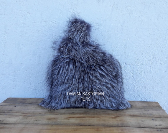 REAL SILVER fOX fUR SAC bAG fULL SkIN / Fox fur Handbag, Womens Bag, Leather bag, Shoulder Bag Women, Tote Bag, Gift For Her, Handmade