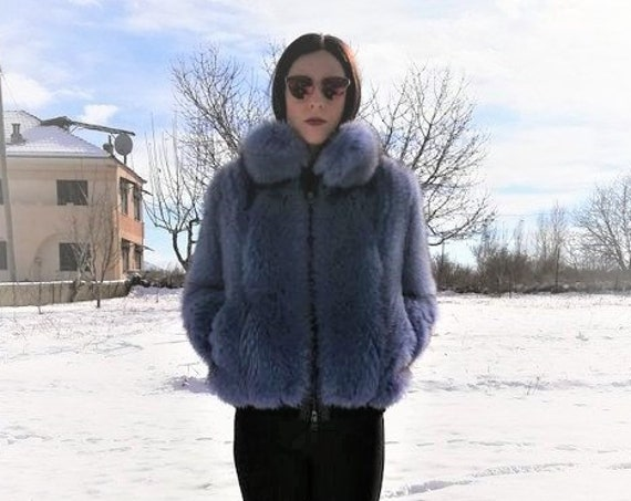 FUR COAT / fUR JACKET / Light Purple/Blue fOX fUR Bomber jacket/bomber jacket