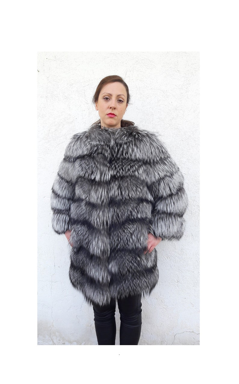 3ab59d2b3 SILVER fOX fUR COAT/jacket/fULL SKiN/fur coat/fox fur coat/fur | Etsy
