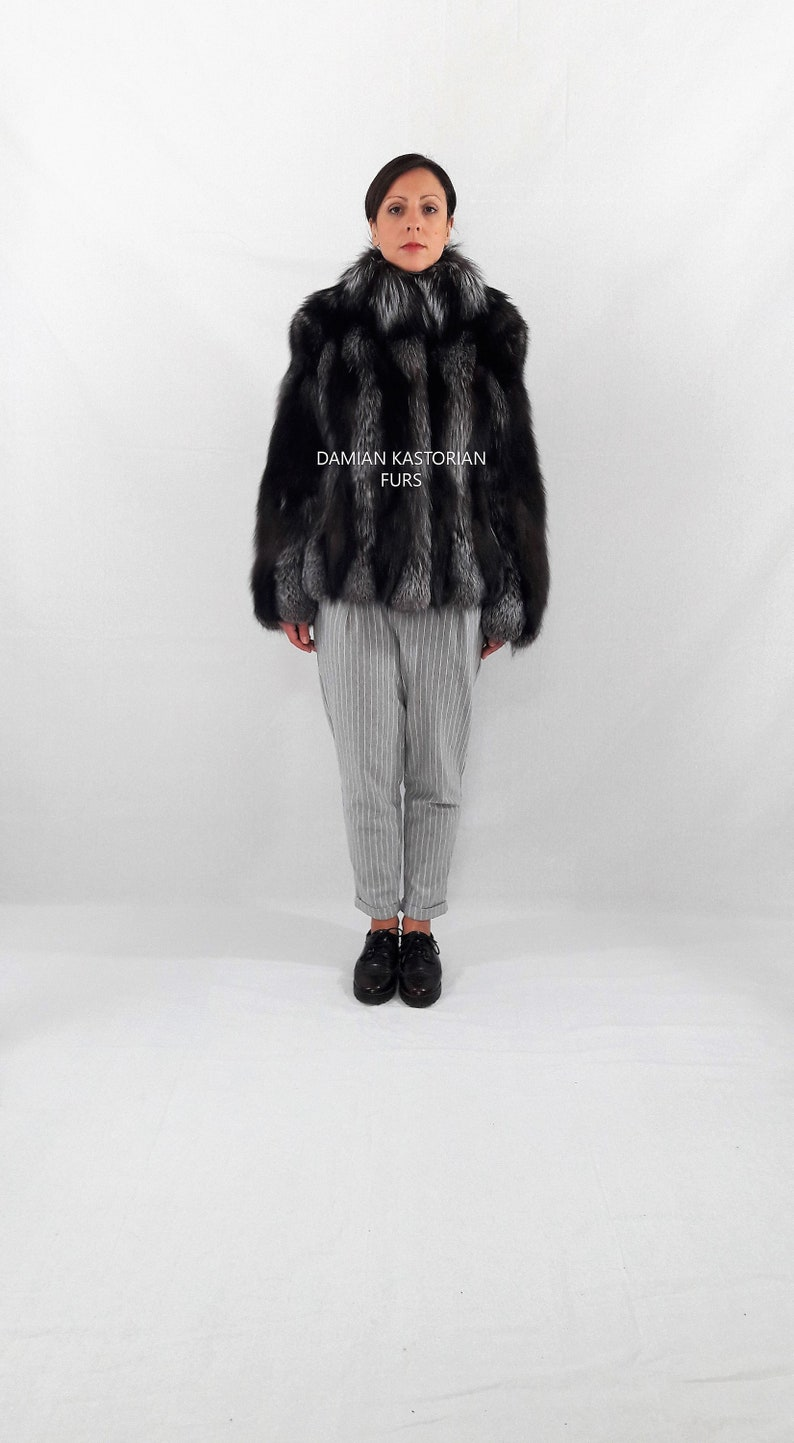 6573ab737 SILVER fOX-fUR jacket-fur coat-fox fur coat-with collar-women | Etsy