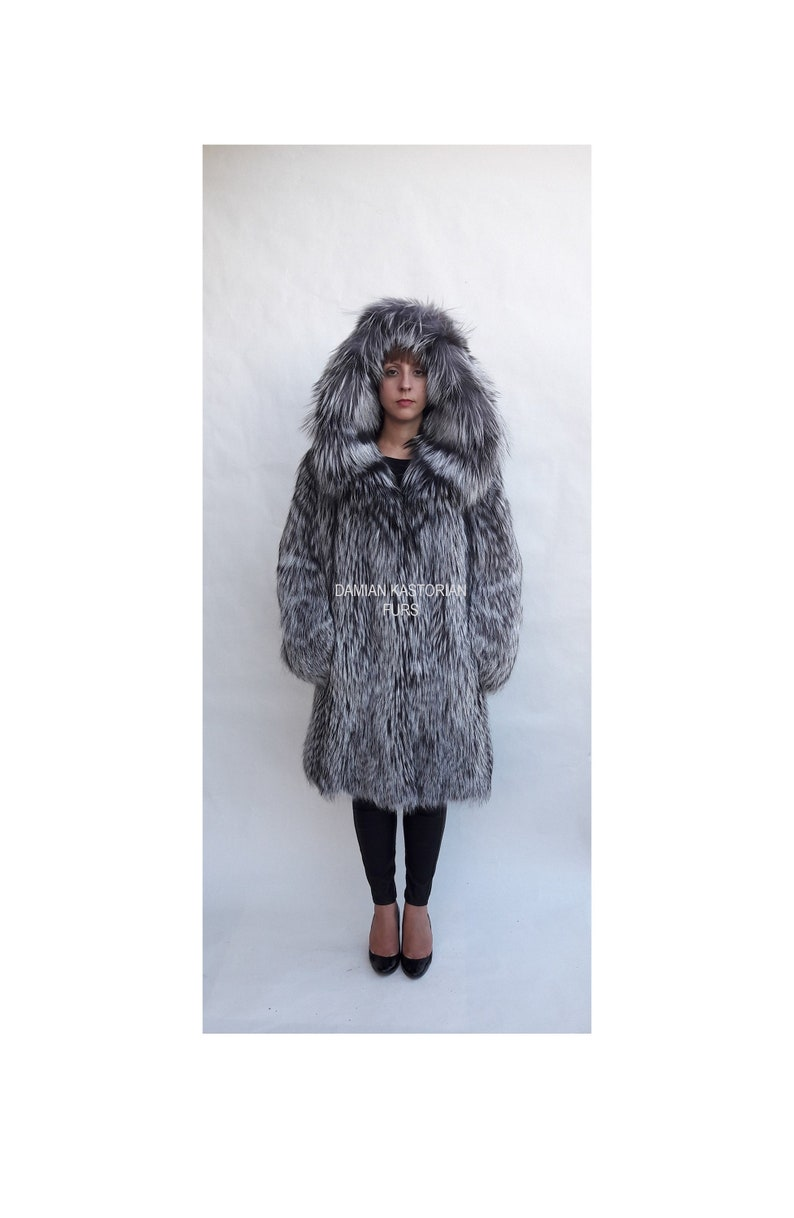 d585d947d SILVER fOX fUR COAT/fULL SKIN/with hood/fur coat/fox fur | Etsy
