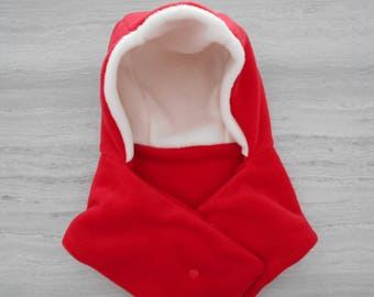 Hat in red and white fleece scarf with integrated 12-18 months